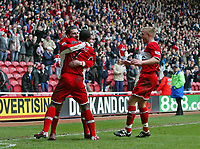 Photo: Andrew Unwin.<br /> Middlesbrough v Bolton Wanderers. The Barclays Premiership. 26/03/2006.<br /> Middlesbrough's Stuart Parnaby (L) celebrates scoring the winning goal for his team.