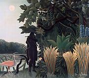 The Lion's Repast' 1907:  Henri Rousseau (Le Douanier)  1844-1910, French Primitive painter . Oil on canvas.