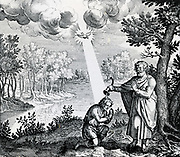 Baptism of Christ, symbolising for Hermetists the divine nature of the microcosm, Man, and the influence of he Holy Spirit (Dove).  Engraving 1617.