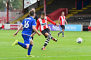 Lloyd James (4) of Exeter City shoots at goal during the EFL Sky Bet League 2 match between Exeter City and Crewe Alexandra at St James' Park, Exeter, England on 16 September 2017. Photo by Graham Hunt.