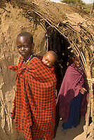 Maasai boys and girl, Manyatta village, Ngorongoro Conservation Area, Tanzania
