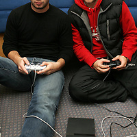 St Johnstone players Peter MacDonald (left) and Paul Lawson who spend their time relaxing after playing football by playing Pro Evolution Soccer on the Playstation.<br />