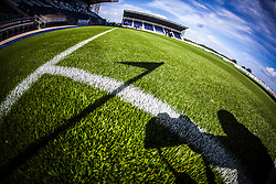 The corner flag and photographer cast a shadow on new pitch at The Falkirk Stadium,  for the Scottish Championship game v Hamilton. The woven GreenFields MX synthetic turf and the surface has been specifically designed for football with 50mm tufts compared with the longer 65mm which has been used for mixed football and rugby uses.  It is fully FFA two star compliant and conforms to rules laid out by the SPL and SFL.<br />