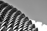 Roof of Esplanade Theater in Black and White