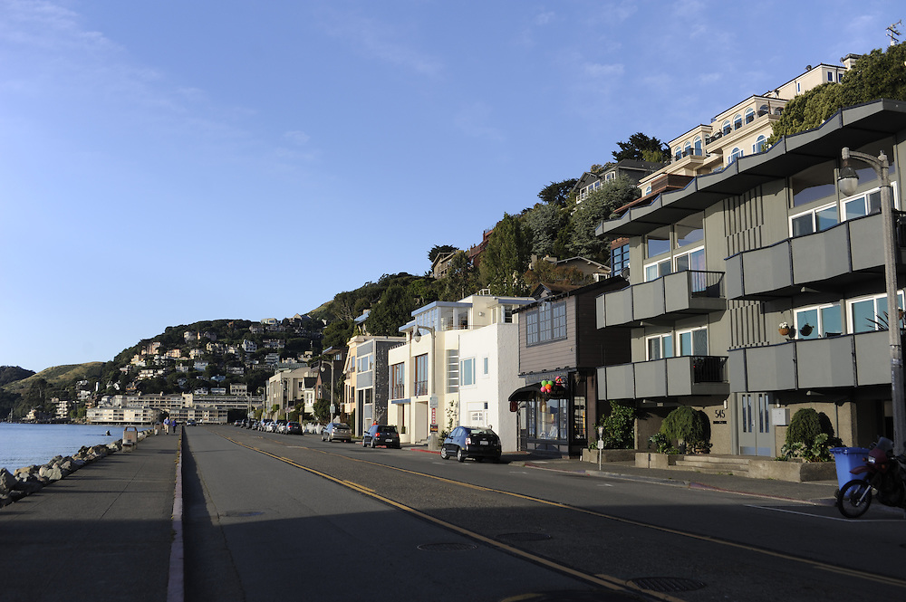 California, Sausalito, suburban houses on hill overlooking bay