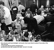 Patsy Kensit and Liam Gallagher. Q Awards. Park Lane Hotel. London 9 November 1996. Film 96701f8<br />© Copyright Photograph by Dafydd Jones<br />66 Stockwell Park Rd. London SW9 0DA<br />Tel 0171 733 0108