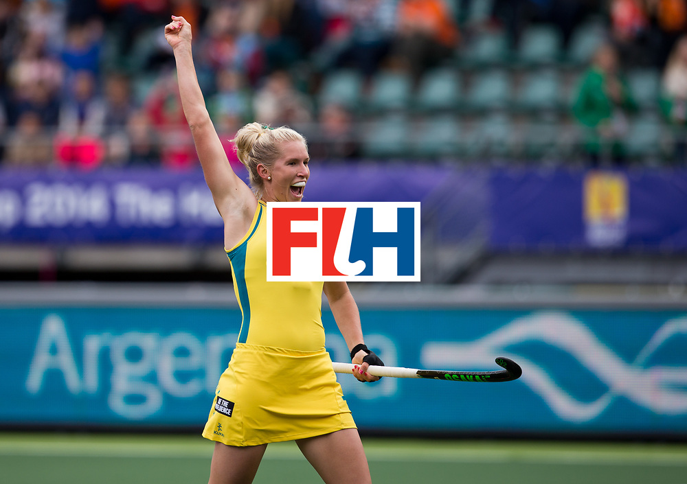 Hockey World Cup 2014<br /> The Hague, Netherlands <br /> Day 5- Women Belgium v Australia<br /> Jodie Kenny goals for Australia<br /> <br /> Photo: Grant Treeby<br /> www.treebyimages.com.au