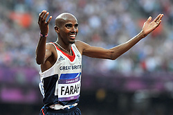File photo dated 11-08-2012 of Great Britain's Mo Farah celebrates after winning the Men's 5000m Final during Day 15 of the London 2012 Olympics at the Olympic Stadium, London.