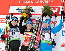 09.12.2011, Biathlonzentrum, Hochfilzen, AUT, E.ON IBU Weltcup, 2. Biathlon, Podium Damen 7,5km Sprint, im Bild Kaisa Mäkäräinen (FIN, 2. Rang), Magdalena Neuner (GER, 1. Rang) and Olga Zaitseva (RUS, 1. Rang) //second place Kaisa Mäkäräinen of Finland, first place Magdalena Neuner of Germany and Place Olga Zaitseva of Russia podium women 7.5km Sprint at E.ON IBU Worldcup 2th Biathlon, Hochfilzen, Austria on 2011/12/09. EXPA Pictures © 2011, PhotoCredit: EXPA/ Johann Groder