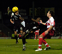 Photo: Jed Wee.<br />Doncaster Rovers v Swansea City. Coca Cola League 1.<br />17/12/2005.<br />Swansea's Adrian Forbes (L) tries a spectacular attempt on goal.