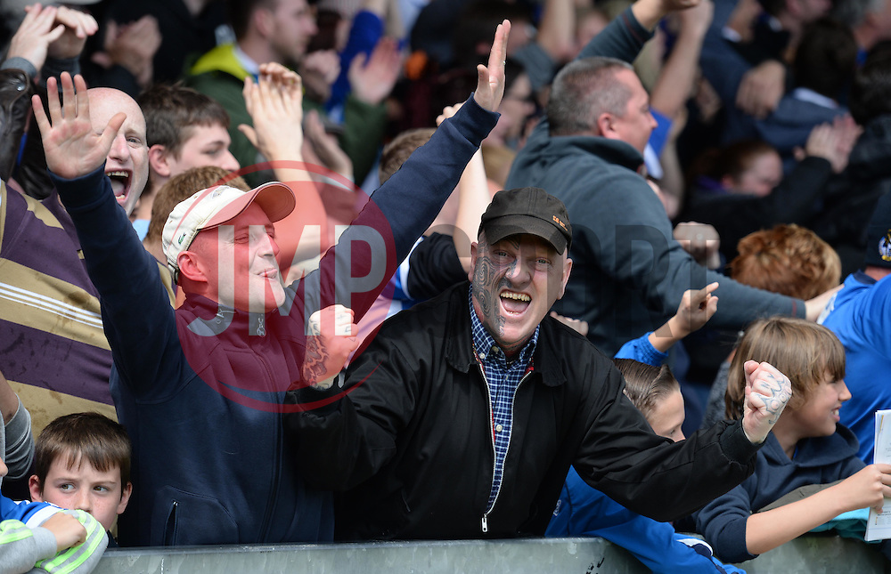 Bristol Rovers fans celebrate.  - Photo mandatory by-line: Alex James/JMP - Mobile: 07966 386802 - 03/05/2015 - SPORT - Football - Bristol - Memorial Stadium - Bristol Rovers v Forest Green Rovers - Vanarama Football Conference