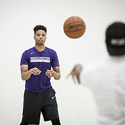 "Markelle Fultz worked out with his training partner, Kenneth Tappin at the North Laurel Community Center ahead of the NBA Draft, in Laurel, MD, on Monday, June 12, 2017. Fultz, 19, a 6'6"" point guard, played one year at the University of Washington and is expected to be the first pick in the NBA draft by the Boston Celtics. John Boal/for The Boston Globe"