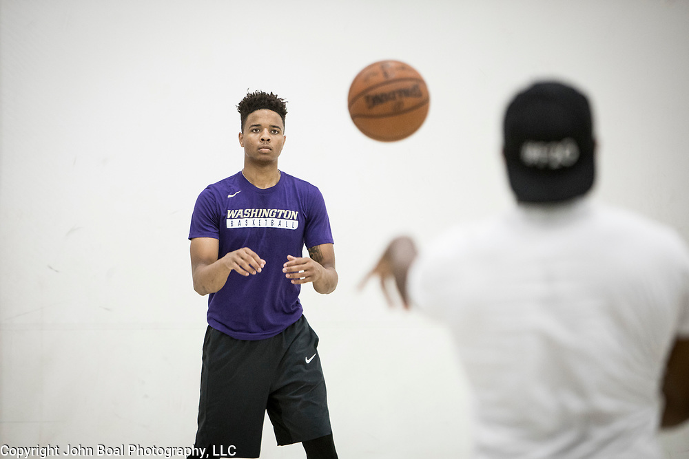 """Markelle Fultz worked out with his training partner, Kenneth Tappin at the North Laurel Community Center ahead of the NBA Draft, in Laurel, MD, on Monday, June 12, 2017. Fultz, 19, a 6'6"""" point guard, played one year at the University of Washington and is expected to be the first pick in the NBA draft by the Boston Celtics. John Boal/for The Boston Globe"""