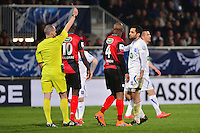 Jamel AIT BEN IDIR carton rouge / Benoit MILLOT - 07.04.2015 -  Auxerre / Guingamp - 1/2Finale de Coupe de France<br />