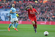 Liverpool defender Nathaniel Clyne (2) can't reach the through ball during the Capital One Cup match between Liverpool and Manchester City at Anfield, Liverpool, England on 28 February 2016. Photo by Simon Davies.