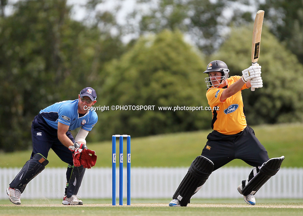 Michael Papps batting for Wellington with Gareth Hopkins. Auckland Aces v Wellington Firebirds,   Ford Trophy one day game held at Burt Sutcliffe Oval, Lincoln, Friday 25 November 2011. Photo : Joseph Johnson / photosport.co.nz