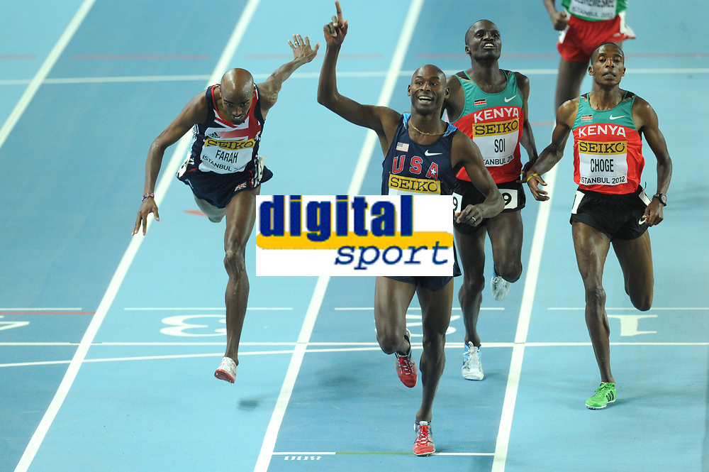 ATHLETICS - WORLD CHAMPIONSHIPS INDOOR 2012 - ISTANBUL (TUR) 09 to 11/03/2012 - PHOTO : STEPHANE KEMPINAIRE / KMSP / DPPI - <br /> 3000 M - MEN - FINALE - GOLD MEDALE - BERNARD LAGAT (USA)