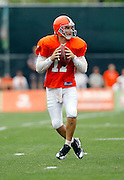 Cleveland Browns quarterback Jake Delhomme (17) drops back to pass during NFL football training camp at the Cleveland Browns Training Complex on Monday, August 9, 2010 in Berea, Ohio. (©Paul Anthony Spinelli)