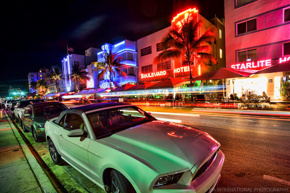 Ocean Drive featuring the Colony, Boulevard, and Starlite Hotels (1)