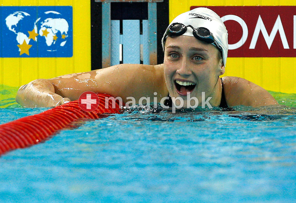 Mireia BELMONTE GARCIA of Spain reacts after finishing first in a new Championship Record in the women's 400m Individual Medley (IM) Final during the 10th FINA World Swimming Championships (25m) at the Hamdan bin Mohammed bin Rashid Sports Complex in Dubai, United Arab Emirates, Wednesday, Dec. 15, 2010. (Photo by Patrick B. Kraemer / MAGICPBK)