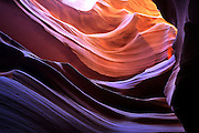 The rock formations of Lower Antelope Canyon were formed by erosion of Navajo Sandstone, primarily due to flash flooding, Navajo Nation, near Page, Arizona.