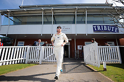 Durham's Paul Collingwood walks out to the middle for the first time this season. - Photo mandatory by-line: Harry Trump/JMP - Mobile: 07966 386802 - 12/04/15 - SPORT - CRICKET - LVCC County Championship - Day 1 - Somerset v Durham - The County Ground, Taunton, England.