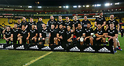 The All Blacks pose with the Freedom Cup during the Rugby Championship match between the New Zealand All Blacks & South Africa at Westpac Stadium, Wellington on Saturday 27th July 2019. Copyright Photo: Grant Down / www.Photosport.nz