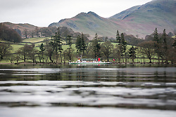 © Licensed to London News Pictures. 14/04/2016. Ullswater UK. The Ullswater Steamer heads towards Pooley Bridge along the calm water of the Ullswater lake in Cumbria this morning. Weather forecasters predict scattered showers in the south & drier in the north.  Photo credit: Andrew McCaren/LNP