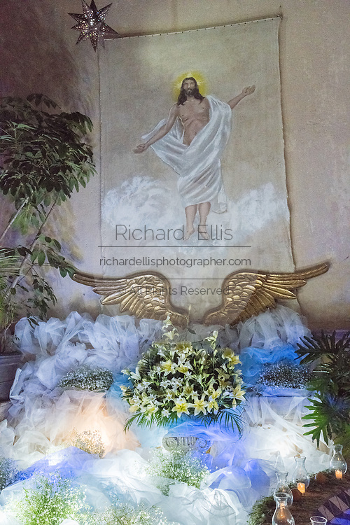 An altar decorated with Christian religious themes for El Viernes de Dolores during Holy Week at a private home March 23, 2018 in San Miguel de Allende, Mexico. The event honors the sorrow of the Virgin Mary for the death of her son and is an annual tradition in central Mexico.