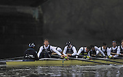 LONDON, ENGLAND - Thursday  13/12/2012 : winning Oxford University crew, ?Spitfire? [Right to left] Bow: James Mountain, 2:Maurus Wuethrich, 3: Nicholas Hazell, 4: Iain Mandale, 5: Tom Watson, 6: Samuel O'Connor, 7: Alexander Davidson, Stroke: Malcolm Howard and Cox: Laurence Harvey after winning the annual Varsity trial 8's for The BNY Melon University Boat Race over the Championship Course [Putney to Mortlake]. The River Thames, England. (Mandatory Credit/ Peter  Spurrier/Intersport Images)