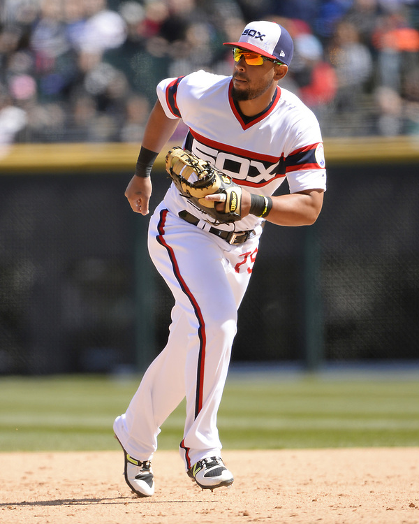 CHICAGO - APRIL 22:  Jose Abreu #79 of the Chicago White Sox fields against the Houston Astros on April 22, 2018 at Guaranteed Rate Field in Chicago, Illinois.  (Photo by Ron Vesely)   Subject:   Jose Abreu