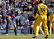 2005 Twenty/20 Cricket England vs Australia, The Rose Bowl, Southampton, Hampshire, ENGLAND 13.06.2005, Marcus Trescothick, edges throgh the gap between the  keeeper and backwood square leg.Photo  Peter Spurrier. .email images@intersport-images...