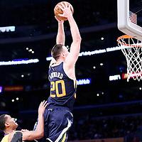 05 December 2016: Utah Jazz forward Gordon Hayward (20) goes for the dunk past Los Angeles Lakers guard Jordan Clarkson (6) during the Utah Jazz 107-101 victory over the Los Angeles Lakers, at the Staples Center, Los Angeles, California, USA.