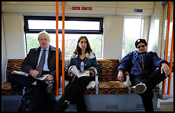 London Mayor Boris Johnson on the tube with his wife Marina Johnson on the final week of his Mayoral Campaign, London, UK, April 21, 2012. Photo By Andrew Parsons / i-Images.