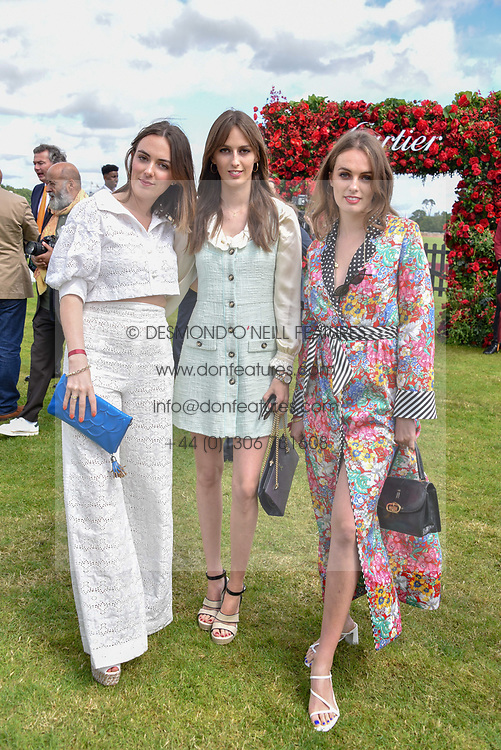 Left to right, Lady Eliza Manners, Lady Alice Manners and Lady Violet Manners at the Cartier Queen's Cup Polo 2019 held at Guards Polo Club, Windsor, Berkshire. UK 16 June 2019. <br /> <br /> Photo by Dominic O'Neill/Desmond O'Neill Features Ltd.  +44(0)7092 235465  www.donfeatures.com