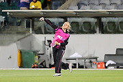 Leigh Kasperek throws in from the deep. Women's T20 international Cricket, Australia v New Zealand White Ferns.  Manuka Oval, Canberra, 5 October 2018. Copyright Image: David Neilson / www.photosport.nz