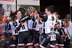 Team Sunweb celebrate the stage win at Giro Rosa 2018 - Stage 1, a 15.5 km team time trial in Verbania, Italy on July 6, 2018. Photo by Sean Robinson/velofocus.com