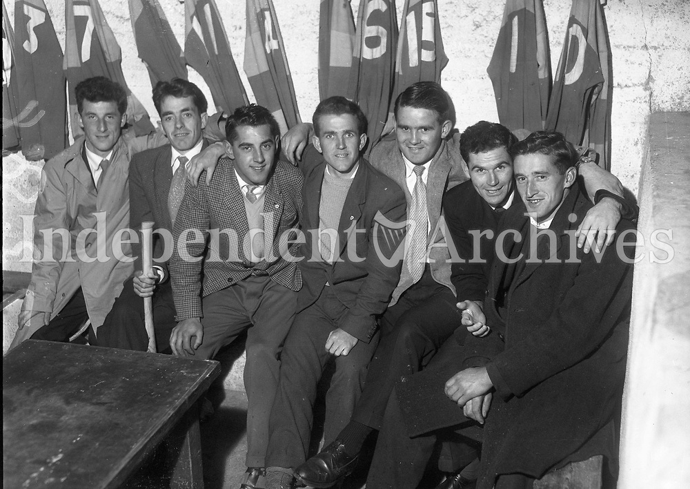 R3351 <br /> Wexford Hurling Team Special. J.O'Brien, M.Lyng, N.Collier, H.McGrath, L.Gawn, M.Bergin, P.Norton. 27/08/1962 (Part of the Independent Newspapers Ireland/NLI Collection)