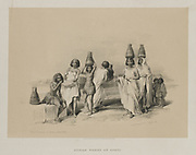 Nubian Women at Korti (Kurti, Sudan) on the Nile, 1847 from Egypt and Nubia, Volume I: Nubian Women at Kortie, on the Nile, 1847. Louis Haghe (British, 1806-1885), F.G.Moon, 20 Threadneedle Street, London, after David Roberts (British, 1796-1864). Color lithograph; sheet: 37.5 x 43 cm (14 3/4 x 16 15/16 in.); image: 25.5 x 35.3 cm (10 1/16 x 13 7/8 in.). The Cleveland Museum of Art, Bequest of John Bonebrake 2012.241