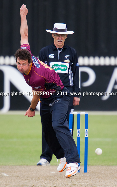 Knights' Bradley Scott bowls during the Ford Trophy Cricket - Northern Knights v Central Stags one day match, at Seddon Park, Hamilton, New Zealand, 11 December 2011. Photo: Stephen Barker/photosport.co.nz
