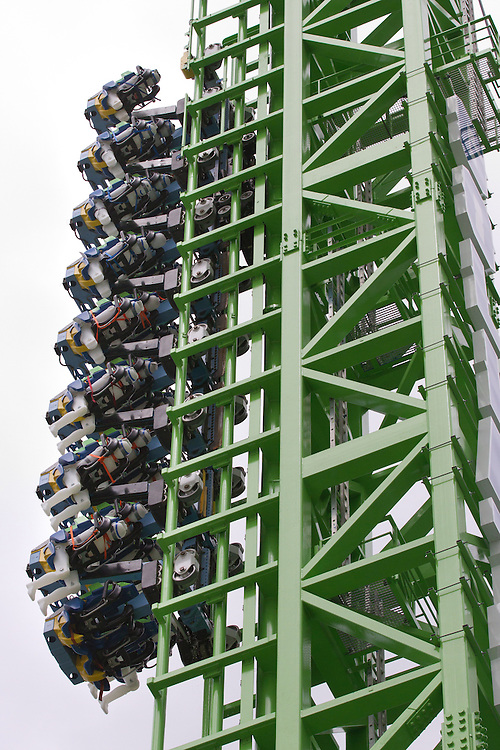 "Water filled dummies ride the new ""Goliath"" roller coaster during testing at Six Flags New England in Agawam Mass., on Thursday May 10, 2012.  (Photo by Matthew Cavanaugh)"