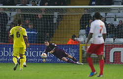STEVENAGE, ENGLAND - Saturday, November 24, 2012: Tranmere Rovers' goalkeeper Owain Fon Williams makes a save in action against Stevenage during the Football League One match at Broadhall Way. (Pic by David Rawcliffe/Propaganda)