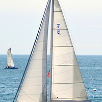 A sailboat at Santa Monica Bay on Friday, March 23, 2012..