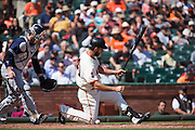 San Francisco Giants starting pitcher Madison Bumgarner (40) reacts to a foul ball against the San Diego Padres at AT&T Park in San Francisco, Calif., on September 14, 2016. (Stan Olszewski/Special to S.F. Examiner)