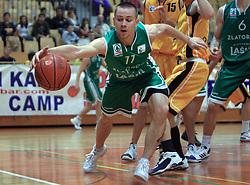 Tadej Kostomaj of Zlatorog at 12th Round of UPC League basketball match between KK Luka Koper and KK Zlatorog Lasko, on May 2, 2009, in Arena Bonifika, Koper, Slovenia. Zlatorog won the match 72:71. (Photo by Vid Ponikvar / Sportida)