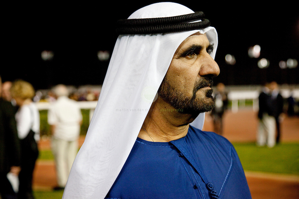 Dubai International Racing Carnival 2010: ASIA, UNITED ARAB EMIRATES, EMIRATE DUBAI, DUBAI 28.01.2010: Portrait Sheikh Mohammed bin Rashid Al Maktoum. The billion-dollar Meydan racecourse opens it doors to the public on January 28, 2010, with the launch of the 2010 Dubai International Racing Carnival. Meydan is the vision of His Highness Sheikh Mohammed bin Rashid Al Maktoum, vice-president of the UAE and ruler of Dubai. Sheikh Mohammed first unveiled his plans to build Meydan on March 30, 2007 - and in 1033 days his dream has turned into reality. Meydan is more than a racecourse: it features state-of-the-art facilities for horses, horsemen and guests, with turf and all-weather tracks, lavish hospitality suites and the world's first five-star trackside hotel. The grandstand is the world's longest and has a crowd capacity of 60000. The season-ending Dubai World Cup remains the world's richest race, with a record-high prize-money of 10m USD, up from 6m the previous year. January 28, 2010, is day 1 of the Dubai Racing Carnival season.
