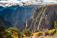 Looking down into the Black Canyon from Tomichi Point  along the South Rim.  Black Canyon of the Gunnison National Park, Colorado.