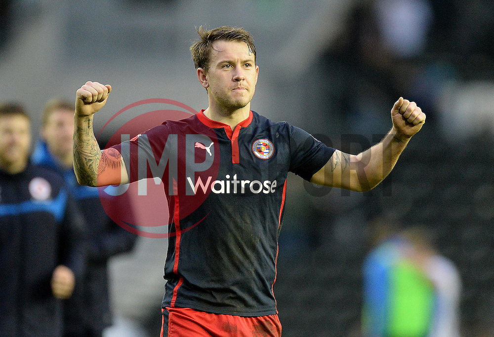 Reading's Simon Cox celebrates at full time. - Photo mandatory by-line: Alex James/JMP - Mobile: 07966 386802 - 14/02/2015 - SPORT - Football - Derby  - ipro stadium - Derby County v Reading - FA Cup - Fifth Round