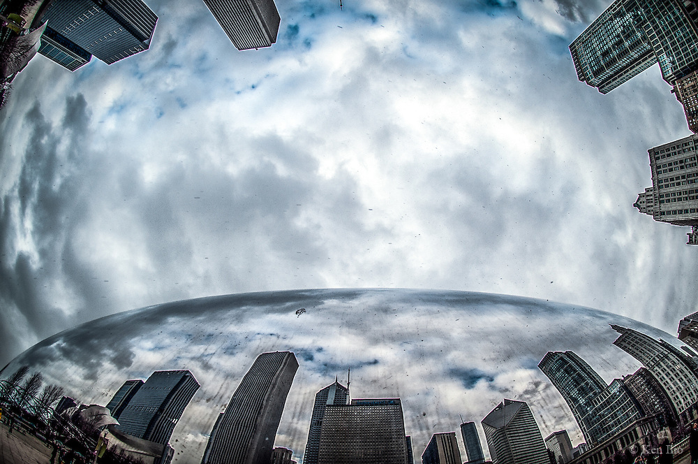 Up Close and Personal. The Bean and its surroundings as captured with a fish eye lens from below.