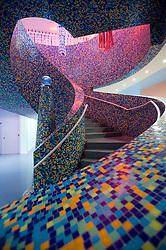 Ornate modern stairway at Groninger Museum in Groningen in the Netherlands